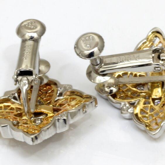 イヤリング PT900 K18 ダイヤモンド D0.34 プラチナ 18金