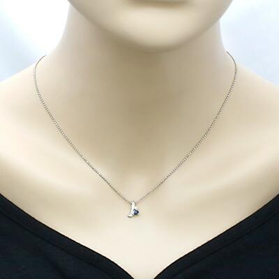 PT850 ネックレス サファイア ダイヤモンド D0.01 プラチナ
