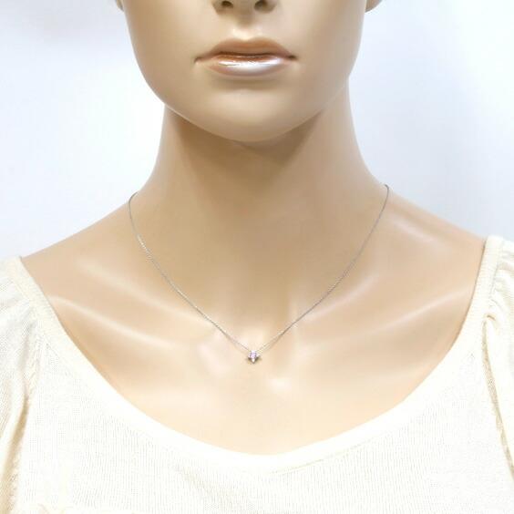 PT950 スタージュエリー ネックレス ピンクサファイア ダイヤモンド D0.05 十字架 クロス Star プラチナ