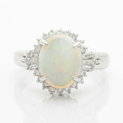 ◎PT900  リング オパール ダイヤモンド D0.37 プラチナ
