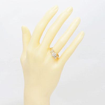 ◎K18 ダイヤモンドリング D0.60 フラワー リボン 18金