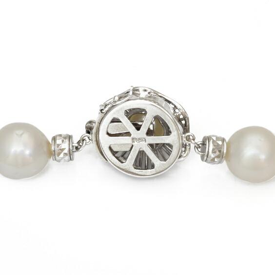 真珠 パール ネックレス レディス 女性 K14WG 大粒 57cm 14金 ホワイトゴールド