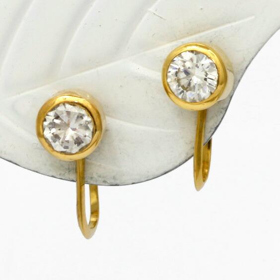 イヤリング K18 ダイヤモンド 18金 D0.60 一粒ダイヤ シンプル