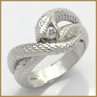 PT900 ダイヤモンドリング D0.10 蛇 プラチナ