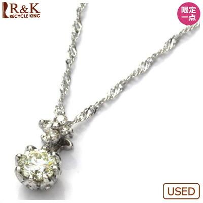 K18WG ダイヤモンドネックレス D0.17 フラワー 18金