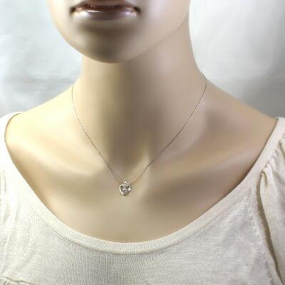 K18WG ダイヤモンドネックレス D0.10 ハート 18金