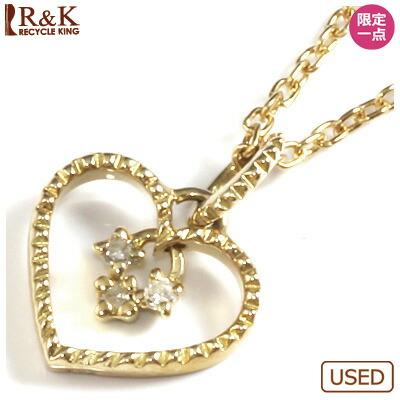 ●K10 ダイヤモンドペンダントネックレス ハート 10金