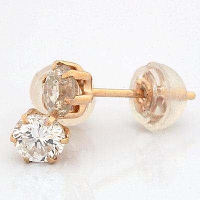 ◎K18PG ピアス ダイヤモンド 1粒 キャッチ 18金ピンクゴールド