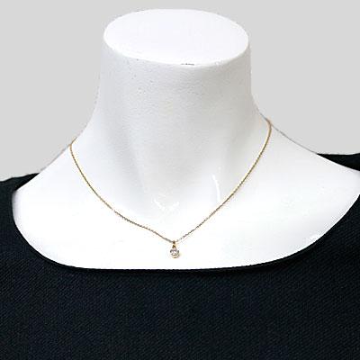 ◎K18 ダイヤモンドネックレス D0.35 一粒 18金