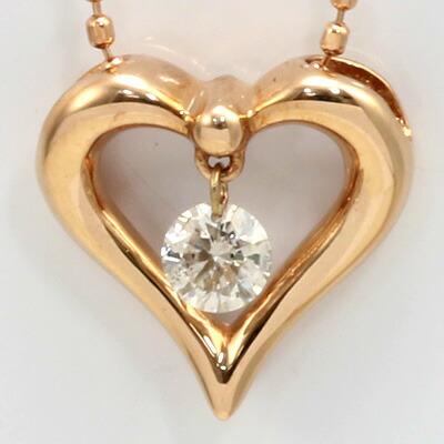 K10PG ダイヤモンドハートネックレス D0.1 ピンクゴールド 10金