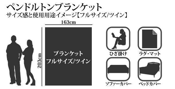 ペンドルトンブランケットのサイズ感と使用イメージ フルサイズ/ツイン