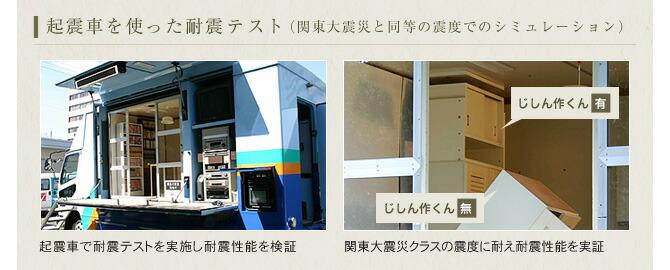 起震車を使った耐震テスト(関東大震災と同等の震度でのシミュレーション)