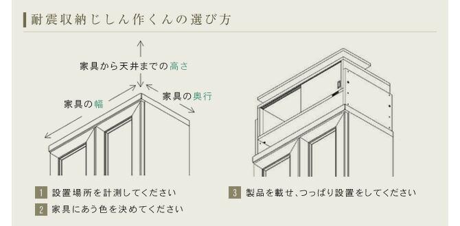 1.設置場所を計測してください 2.家具にあう色を決めてください 3.製品を載せ、つっぱり設置をしてください
