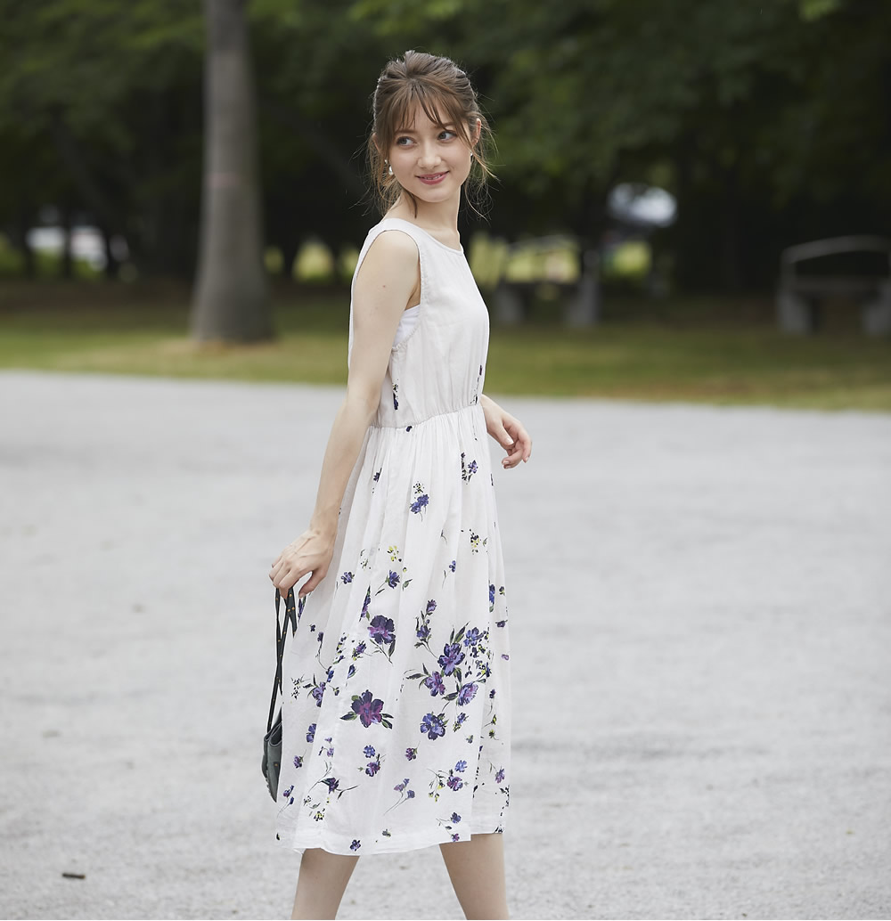 2f77691c98a606 パネルフラワープリントコットンマキシワンピース 【chopea チェピア ...