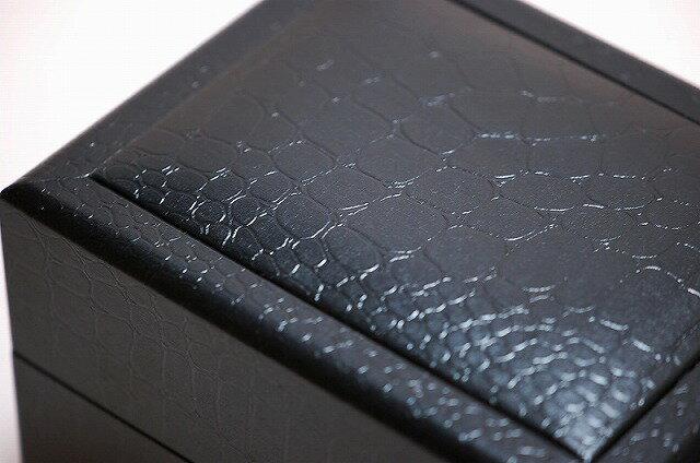 高級時計専門店仕様 時計1本用ボックス 黒クロコ模様