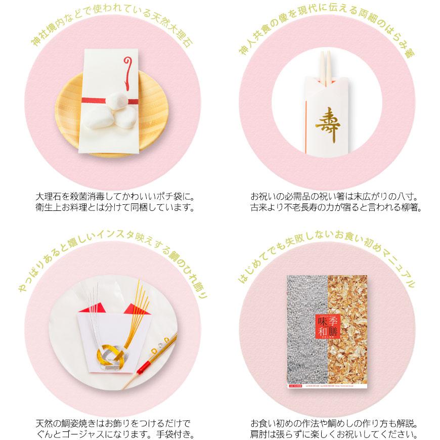 歯固め石、お祝い箸、鯛飾り、マニュアル