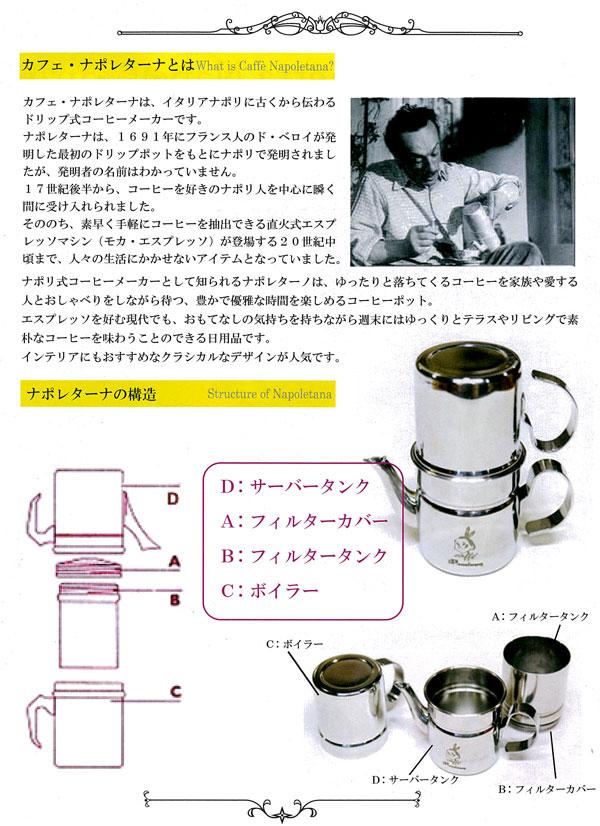 カフェ・ナポレターナ・ナポリ式(直火式)コーヒーメーカー使い方2