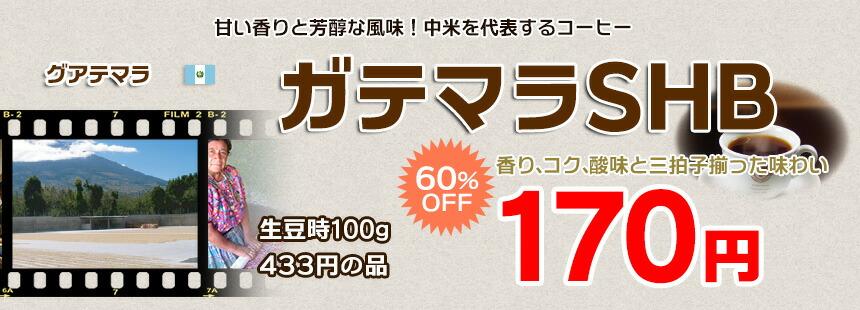 今月のおすすめ豆 超特価品 ガテマラSHB