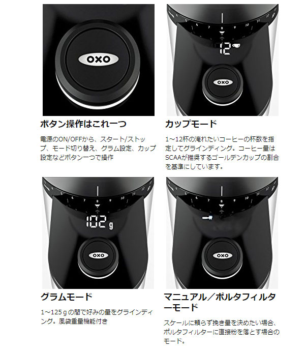 OXOの自動計量機能付電動コーヒーミル