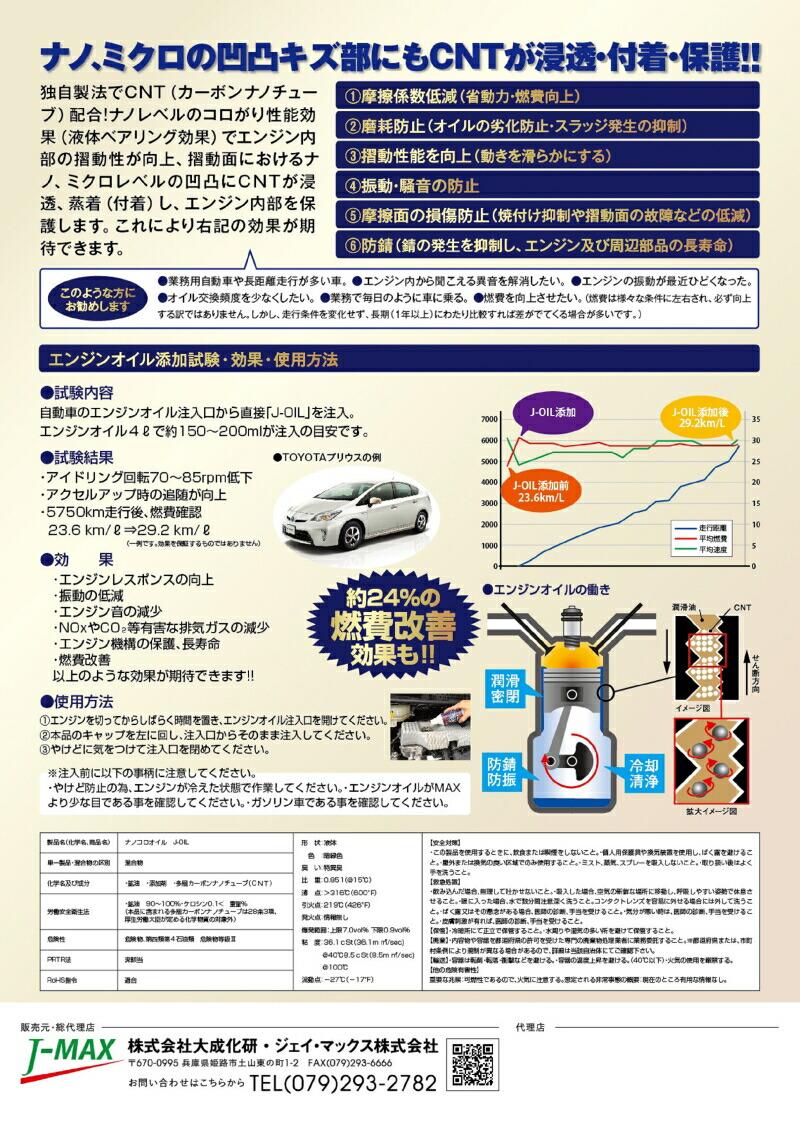 ナノコロオイル/J-OIL/カーボンナノチューブ(CNT)配合エンジンオイル/ジェイマックス(株)/(株)大成化研/J-MAX/ナノコロ