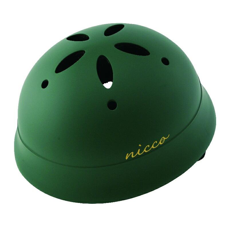 KM002LMGR マットグリーン 子供用自転車ヘルメット nicco(ニコ)シリーズ クミカ工業 日本製
