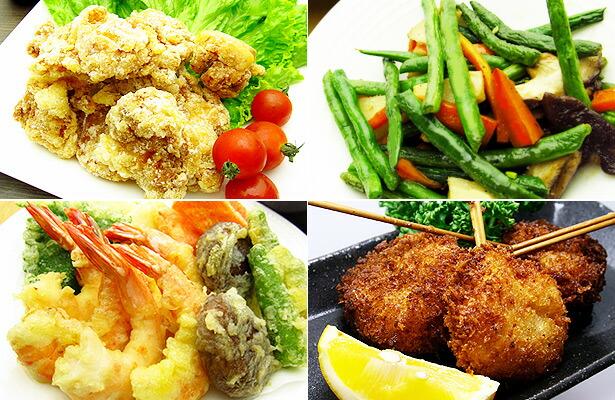 唐揚げ、炒め物、天ぷら、串揚げ