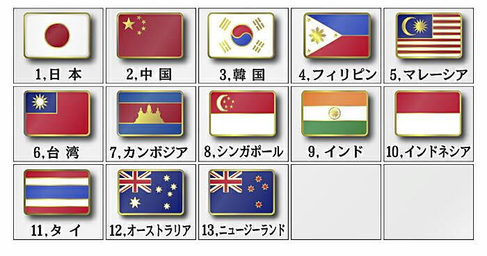 世界の国旗ピンバッチアジア