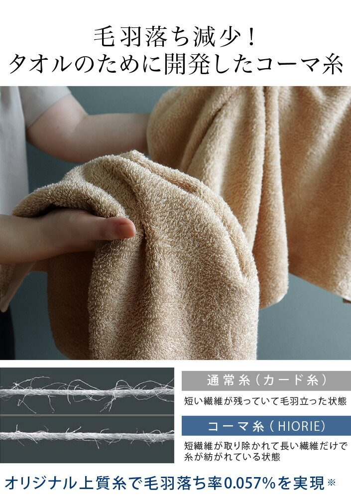 オリジナル上質コーマ糸で毛羽落ち減少