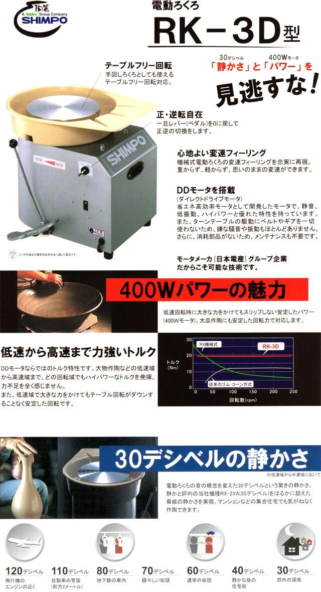 大型電動ろくろ RK-3D 特徴です