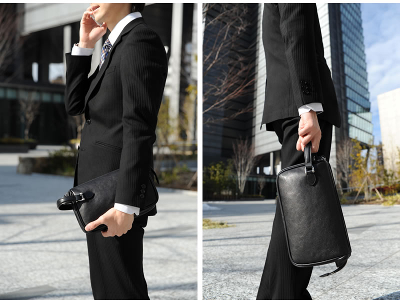 GAZA セカンドバッグ DINALY BUSINESS 2 /メンズ 男性用/クラッチバッグ/ポーチ/結婚式 冠婚葬祭/本革 牛革 レザー/鞄  かばん バッグ/日本製 青木鞄/ビジネスバッグ/黒