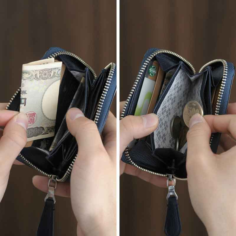 0f844a8b309b 角シボ型押しの牛革を使用した手の平サイズのミニ財布。メイン素材にはイタリア随一の規模を誇るタンナー、マスロット社の「CRUMBS革」を使用。イタリアン レザー特有の ...