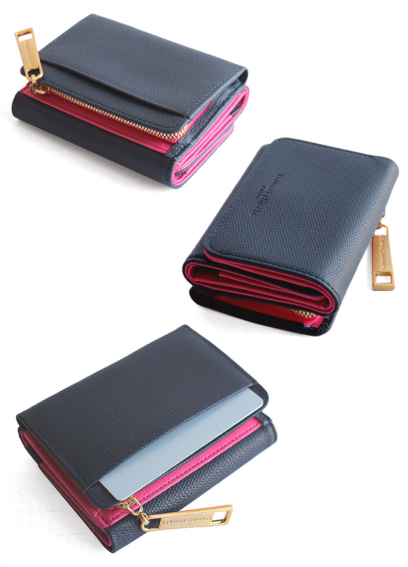 シンプルなデザインの三つ折り財布