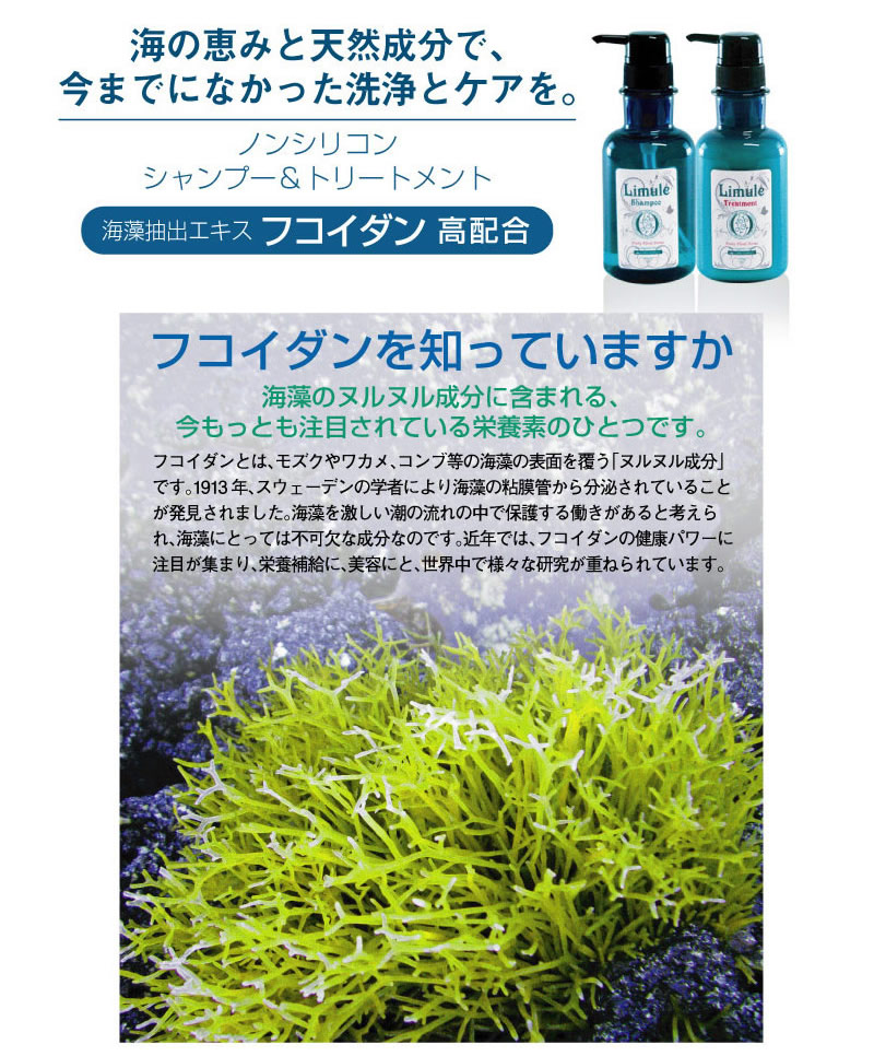 海藻抽出エキス「フコイダン」配合。海藻のヌルヌル成分に含まれる栄養素が、髪と頭皮にも優しく洗い上げます。