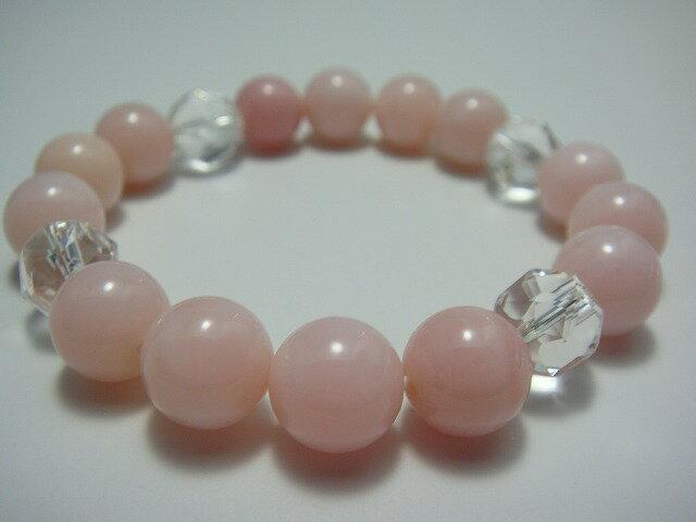 愛される女性のピンクオパールブレスレット/ピンクオパール、水晶