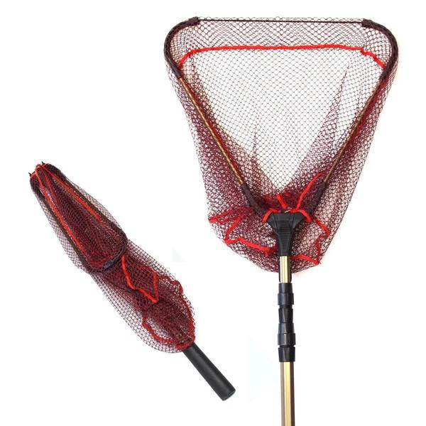 TPOS 折りたたみ式たも網 ワンタッチネット 伸縮する玉網 最大約190cm、収納時約71cm、網幅約43cm 玉網