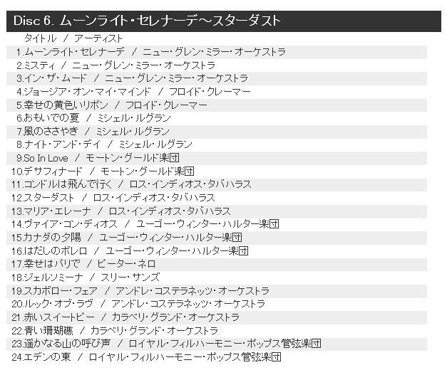 Disc 6. ムーンライト・セレナーデ~スターダスト
