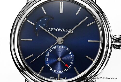 【AEROWATCH】アエロウォッチ 腕時計 1942 Moon Phase (1942 ムーンフェーズ) サンブラッシュブルー A74969AA03M