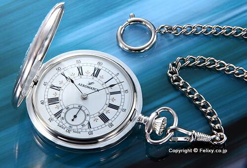 【AEROWATCH】アエロウォッチ 懐中時計 ホワイト/シルバー 55629AG01