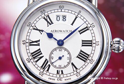 【AEROWATCH】アエロウォッチ 腕時計 Collection1942 Gent (コレクション1942) シルバー/ブラックレザー A41900AA01