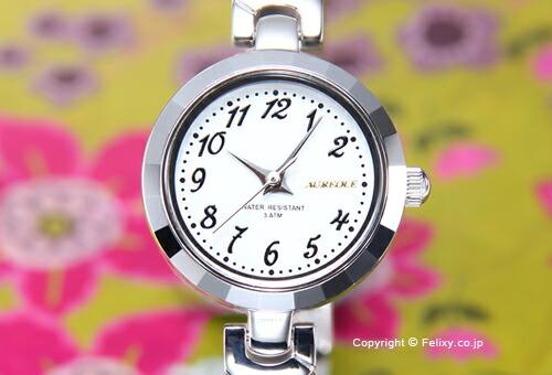 【AUREOLE】オレオール 腕時計 ホワイト×シルバー/ブラックマーブル SW-588L-C
