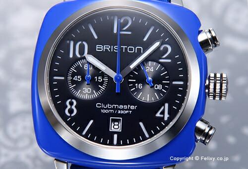 【BRISTON】ブリストン 腕時計 Clubmaster Cgronograph (クラブマスター クロノグラフ) ブラック(シルバー)×ブルー 13140.SA.286.1.NBLE