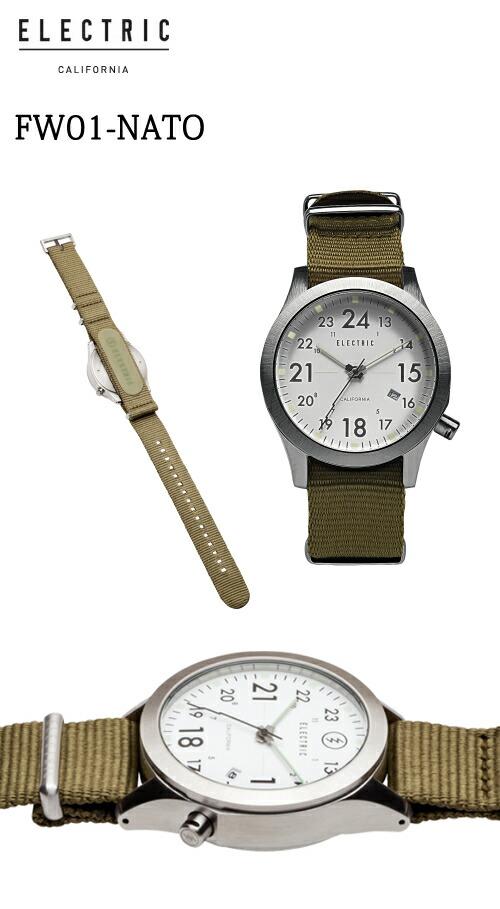【ELECTRIC】エレクトリック 腕時計 FW01 NATO WHITE/OLIVE (EW0010020003)