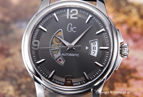 【GUESS COLLECTION】ゲスコレクション 腕時計 Classica Automatic Collection (クラシック オートマチック コレクション) グレー/ブラックレザーストラップ X84003G5S