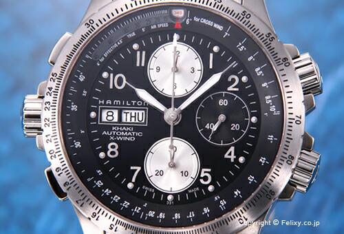 【HAMILTON】ハミルトン 腕時計 Khaki X-wind Automatic(カーキ Xウィンド) SS/ブラック H77616133