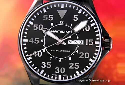 【HAMILTON】ハミルトン Khaki Pilot (カーキ パイロット) オールブラック/ブラックレザーストラップ 46mm H64785835