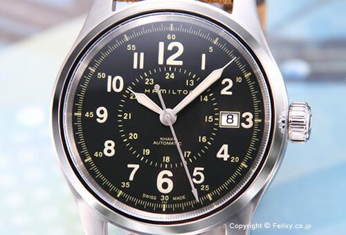 【HAMILTON】ハミルトン 腕時計 Khaki Field Auto 40mm (カーキフィールドオート 40mm) ブラック/ベージュヌバックレザーストラップ H70595593