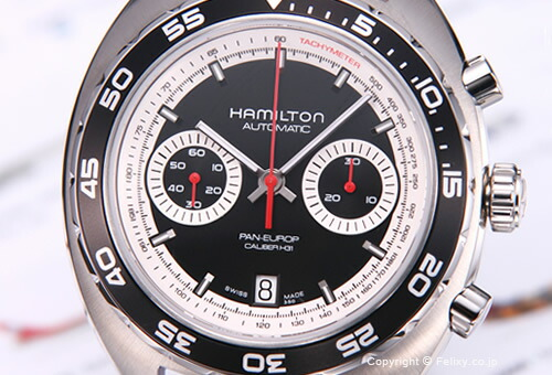 【HAMILTON】 ハミルトン 腕時計 Pan Europ (パンユーロ) クロノマチック生誕40周年記念モデル ブラック H35756735