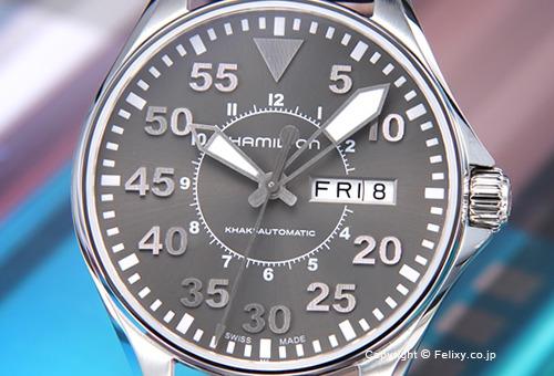 【HAMILTON】ハミルトン 腕時計 Khaki Pilot Auto 38mm (カーキ パイロット オート 38mm) グレー/ダークブラウンレザーストラップ H64425585