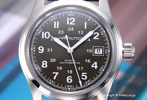 【HAMILTON】ハミルトン 腕時計 Khaki Field Auto (カーキ フィールド オート) ダークグリーン/ブラックレザーストラップ H70455863