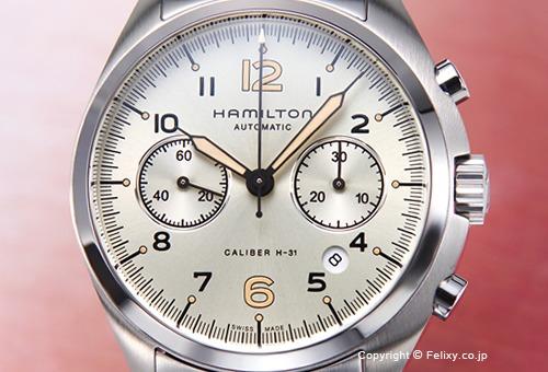 【HAMILTON】ハミルトン 腕時計 Khaki Pilot Pioneer Auto Chrono (カーキ パイロット パイオニア オート クロノ) アイボリー H76416155